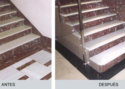 Portal, escalera, antes y después