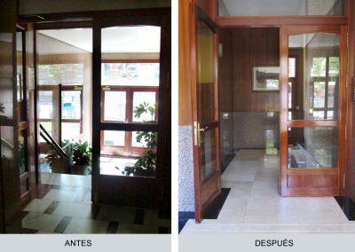 Portal, interior, antes y después