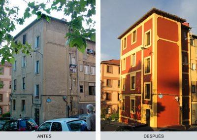 Fachada, antes y después. Barrio de la Cruz
